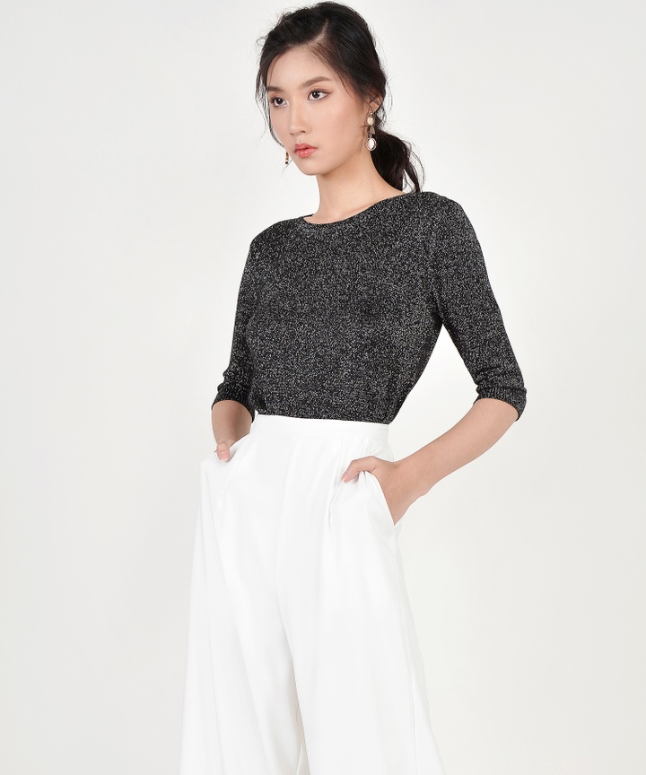 Shimmer Knit Sweater - Black