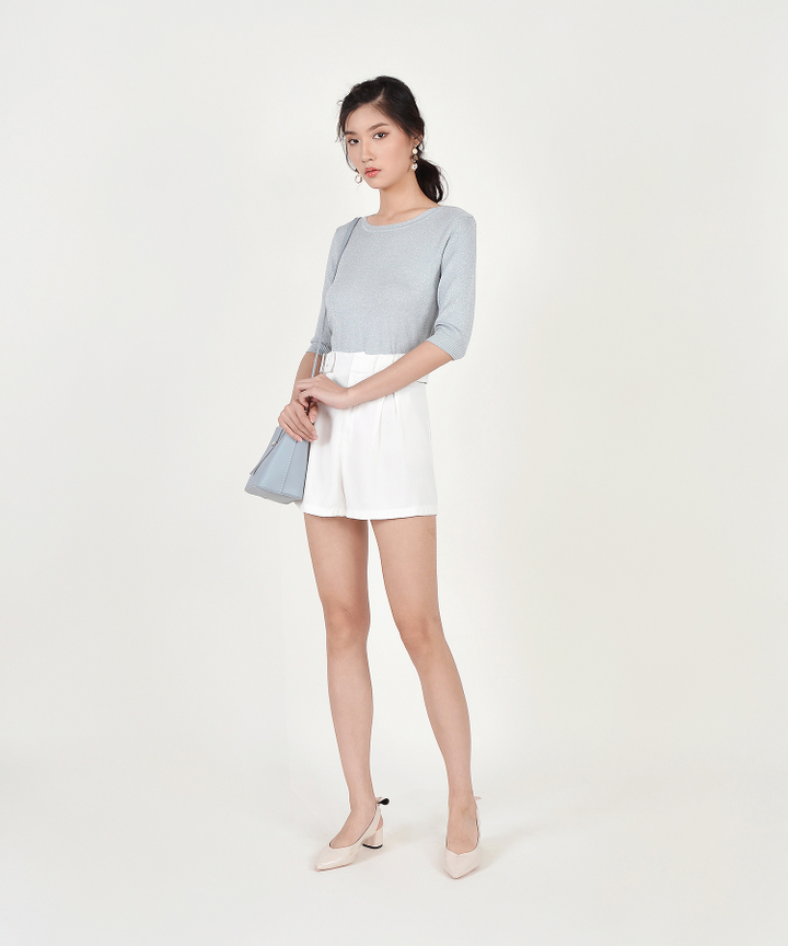 Shimmer Knit Sweater - Silver Blue