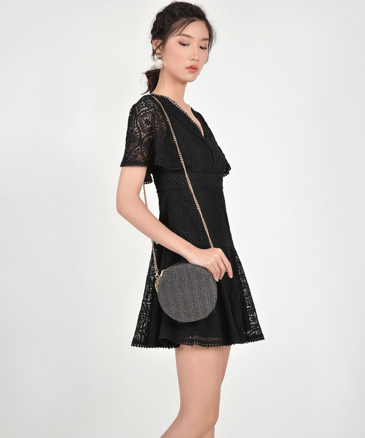 Keiko Crochet Dress - Black