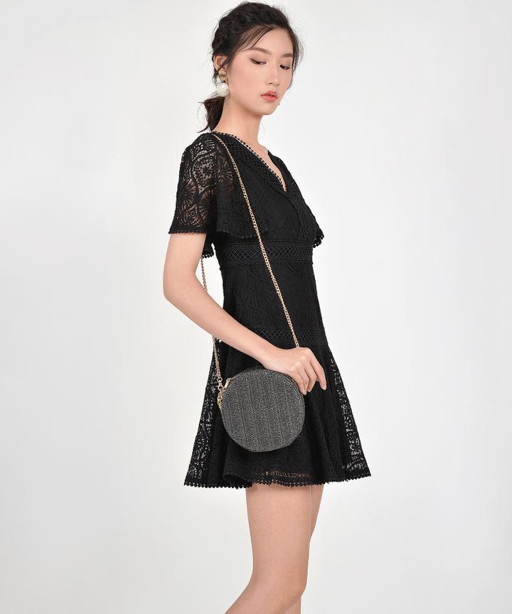 Dawn Circle Woven Bag - Black