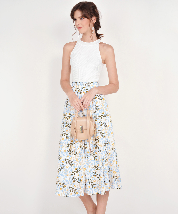 Demi Printed Midi Skirt - Blue