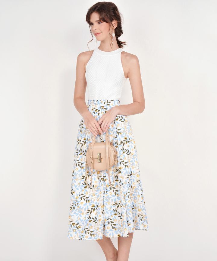 Demi Printed Midi Skirt - Blue