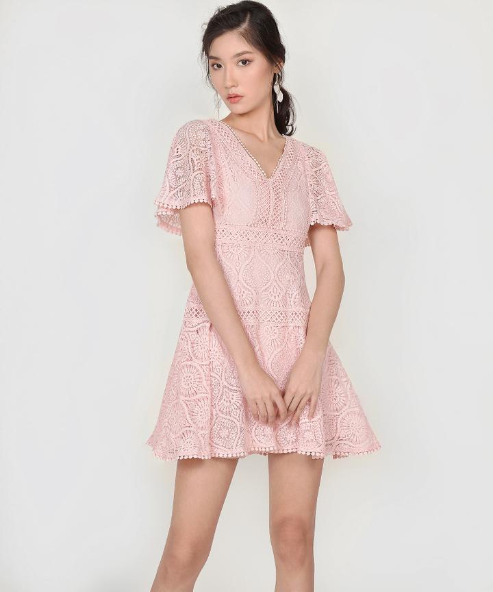 Keiko Crochet Dress - Pink