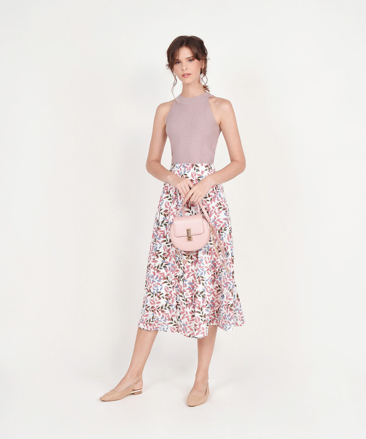 Demi Printed Midi Skirt - Pink