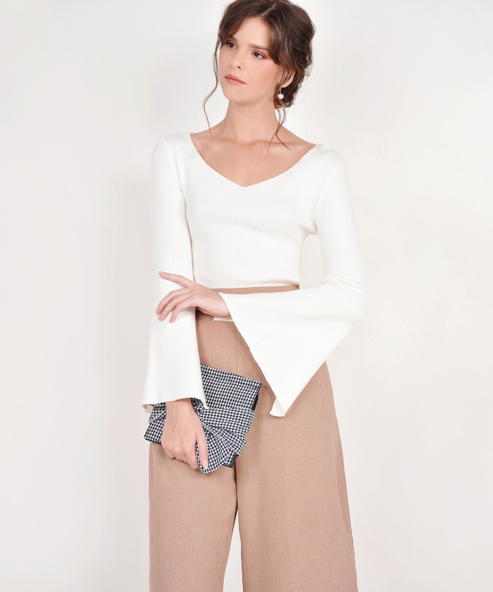 Ellery Flare-Sleeved Knit Top - White