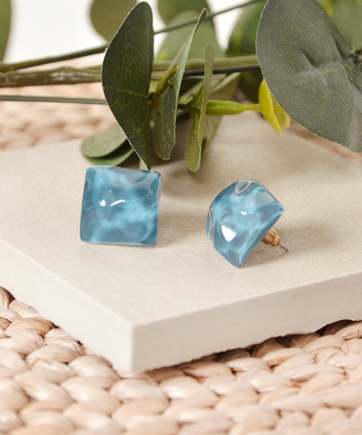 Slate Square Earrings - Teal