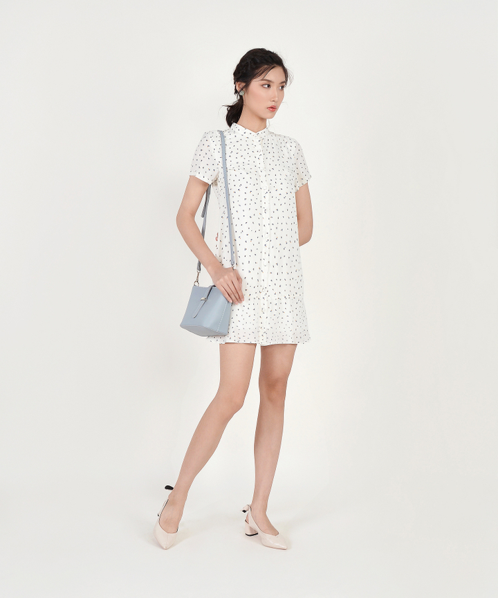 Natalia Printed Shirtdress - White