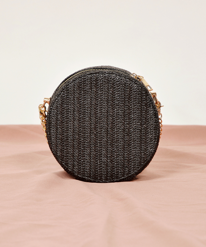 Dawn Circle Woven Bag - Black