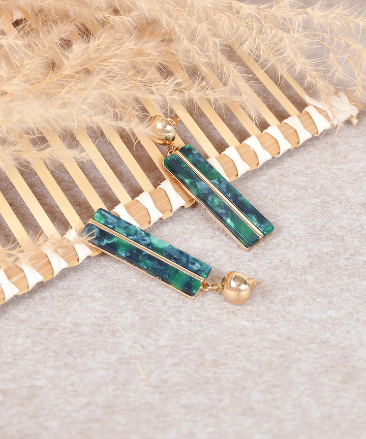 Aurelia Rectangular Earrings - Emerald