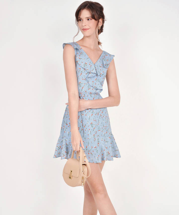 Robyn Floral Ruffle Dress - Pale Blue
