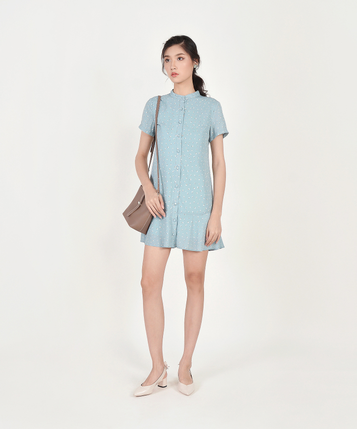 Natalia Printed Shirtdress - Pale Blue