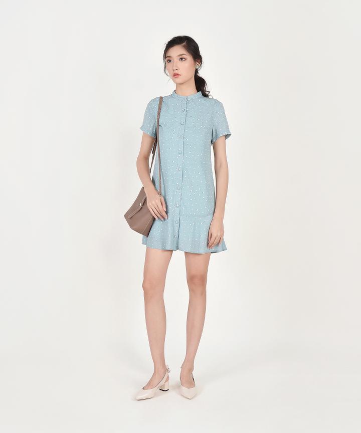 Natalia Printed Shirtdress - Pale Blue