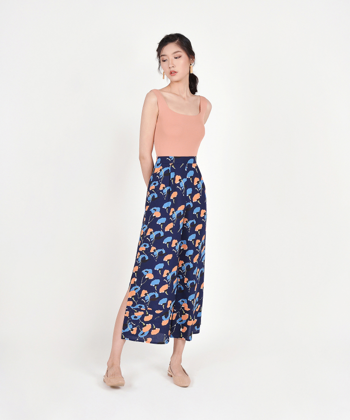 Monet Printed Pants - Midnight Blue