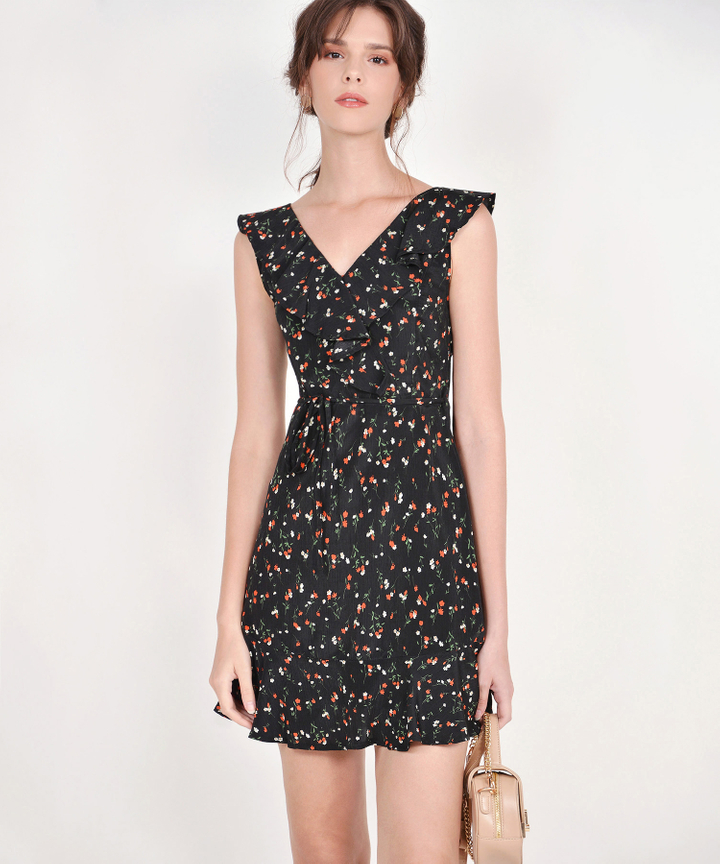 Robyn Floral Ruffle Dress - Black