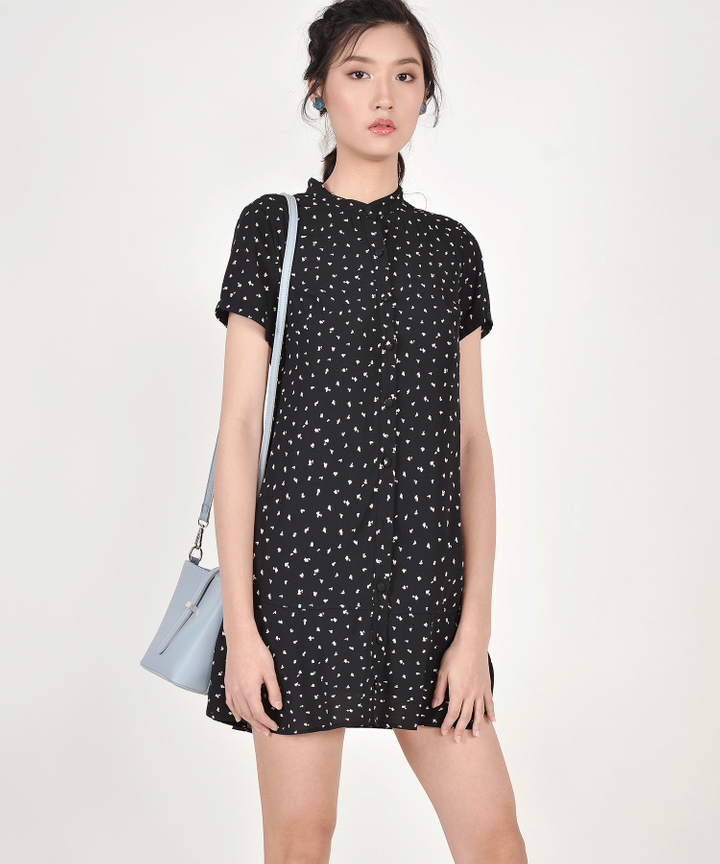 Natalia Printed Shirtdress - Black