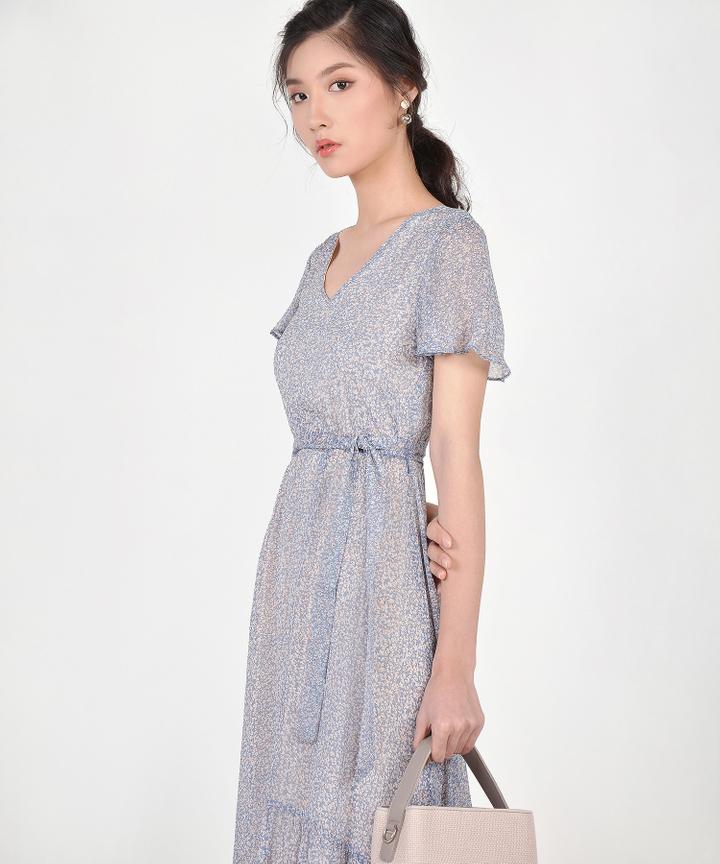 Amelia Floral Asymmetrical Midi - Blue