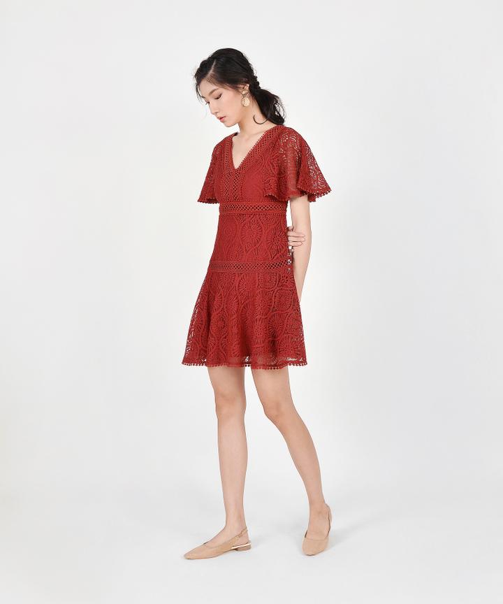 Keiko Crochet Dress - Crimson
