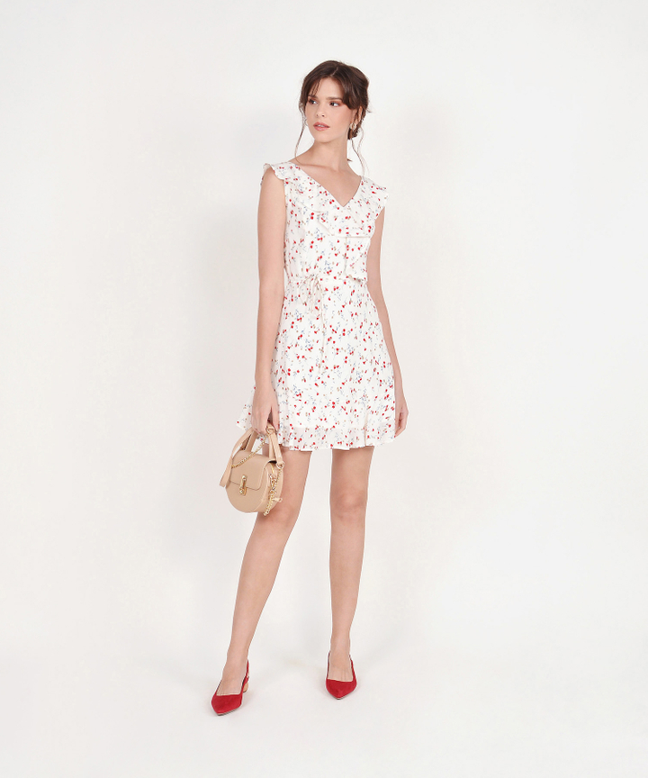 Robyn Floral Ruffle Dress - White