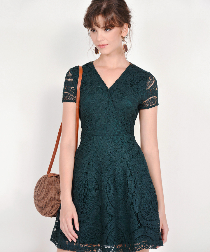 Julie Crochet Dress - Forest Green