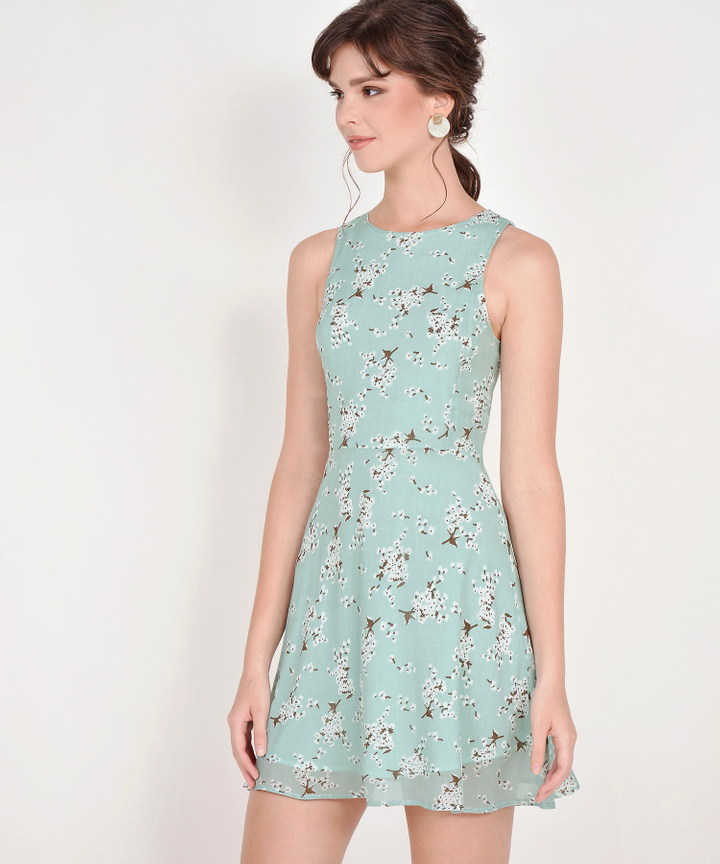 Jayce Floral Dress - Pale Mint