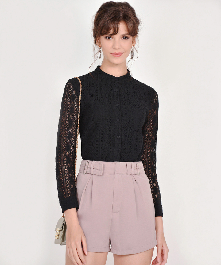 Nanette Crochet Blouse - Black
