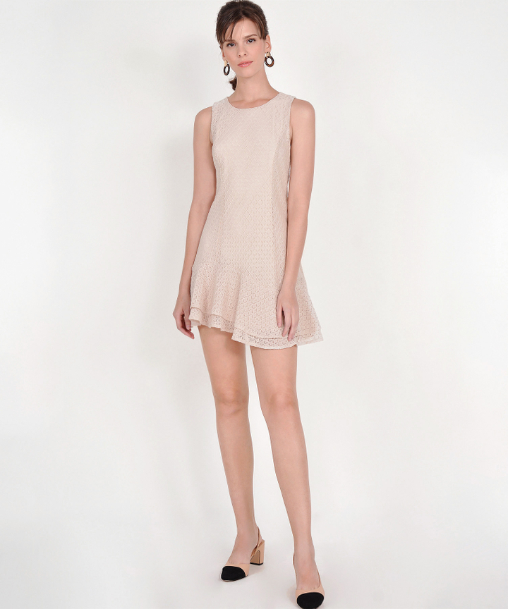 Claudine Eyelet Dress - Pale Nude