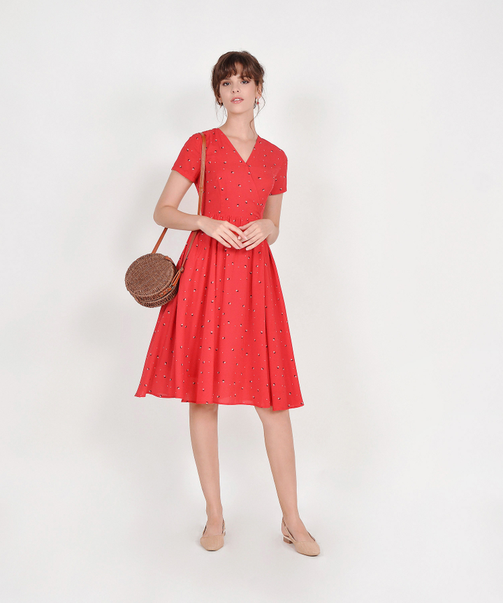 Emelia Floral Overlay Midi - Crimson