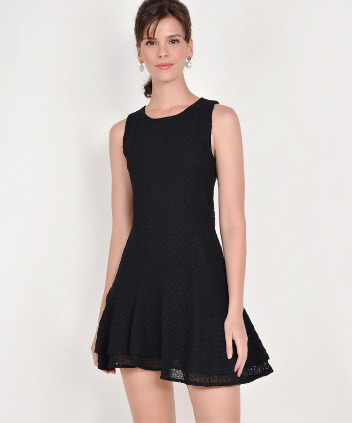 Claudine Eyelet Dress - Black