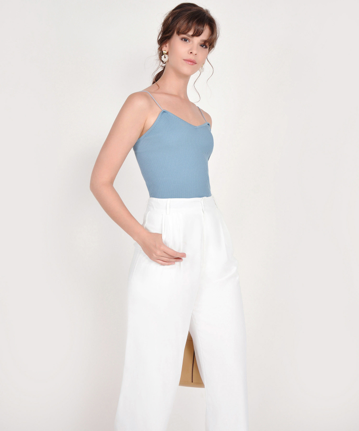 Althea Basic Knit Top - Mist Blue