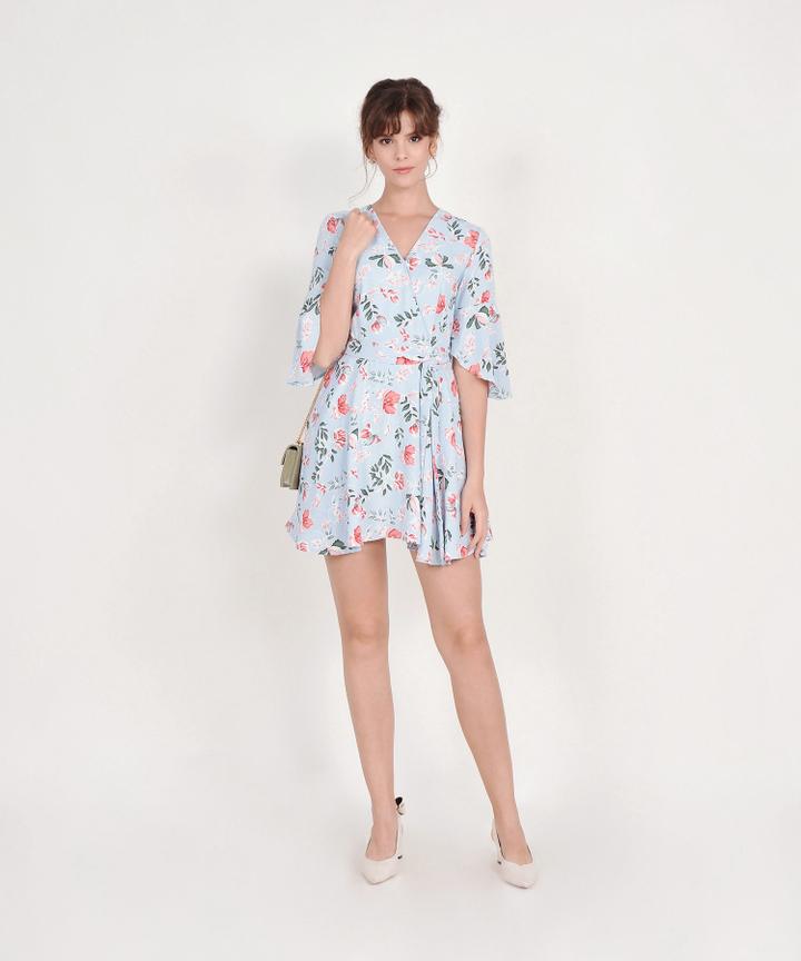 Lorraine Floral Kimono Dress - Pale Blue