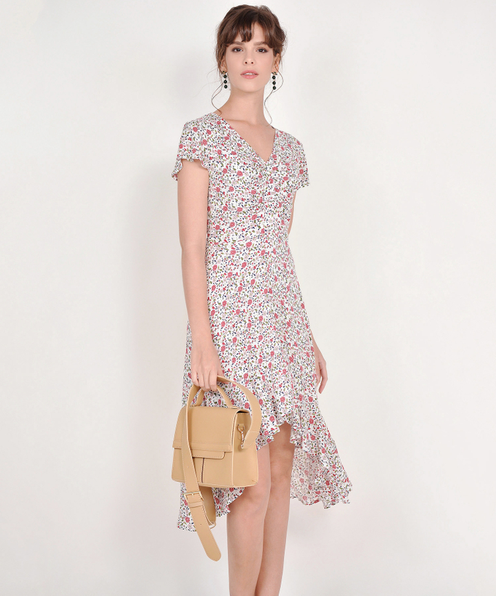 Mira Floral Asymmetrical Dress - White