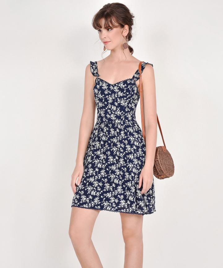 Cruz Floral Dress - Midnight Blue