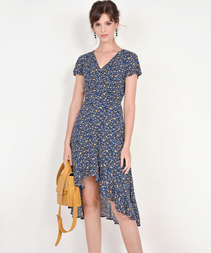 Mira Floral Asymmetrical Dress - Navy