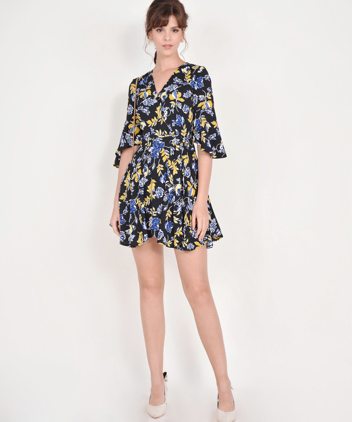 Lorraine Floral Kimono Dress - Black