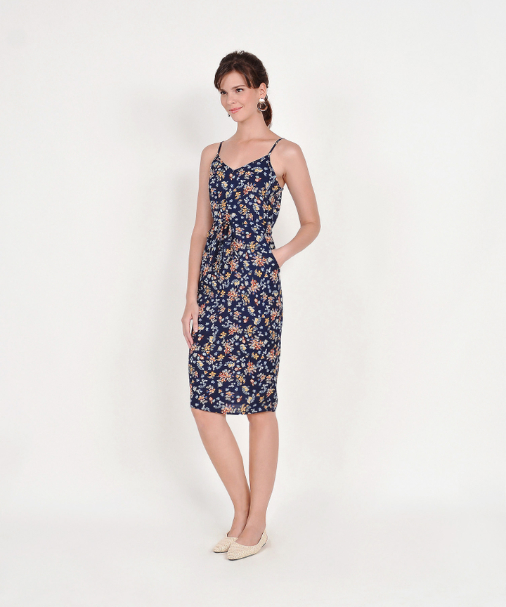 Arden Floral Drawstring Midi Dress - Navy