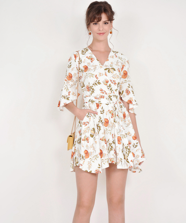 Lorraine Floral Kimono Dress - White