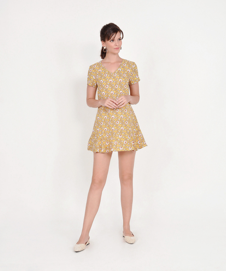 Carmina Floral Mini Dress - Marigold