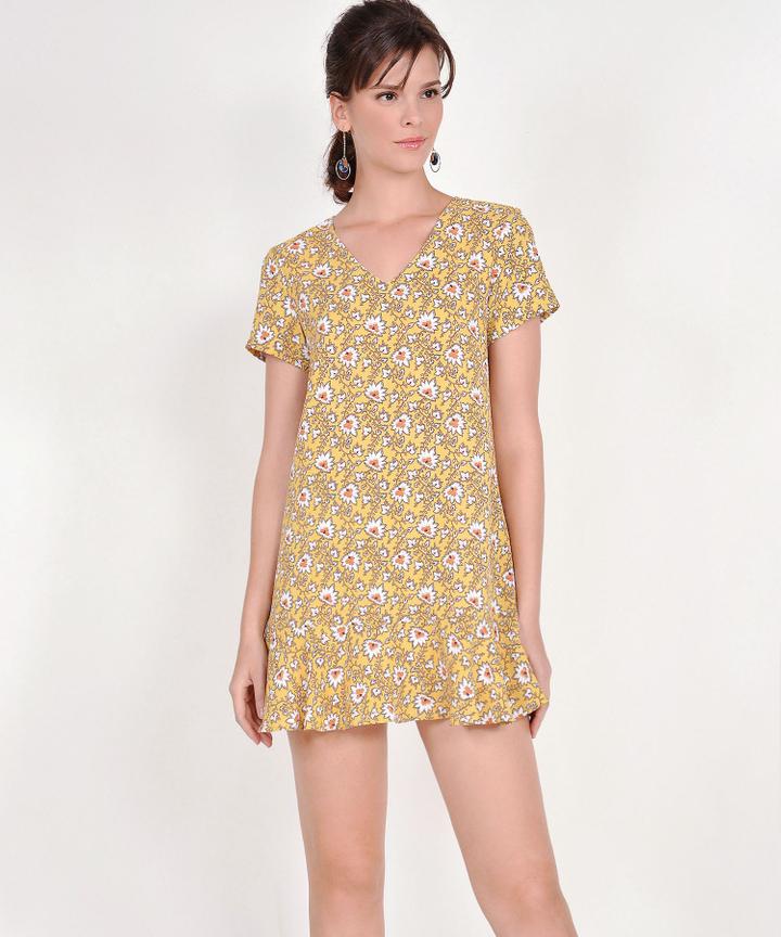 Carmina Floral Mini Dress - Marigold