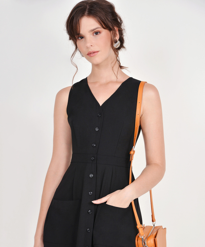 Elodie Button-Down Dress - Black