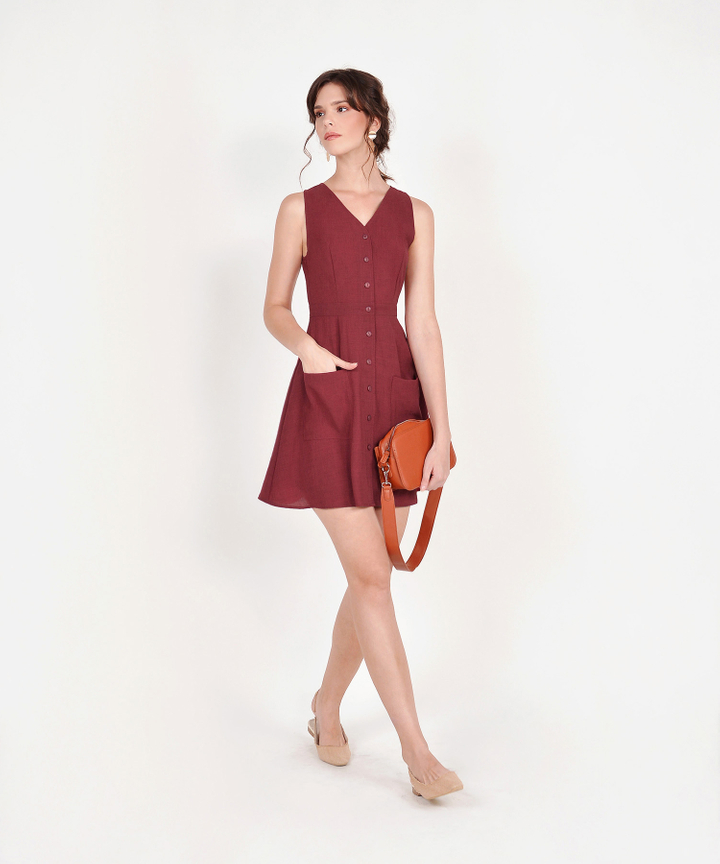 Elodie Button-Down Dress - Ruby