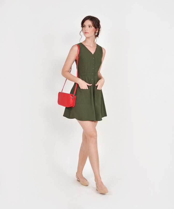 Elodie Button-Down Dress - Olive