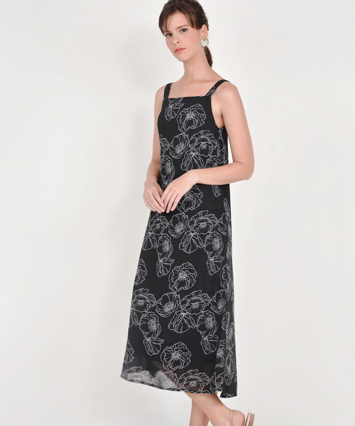 Nicolette Abstract Floral Maxi - Black