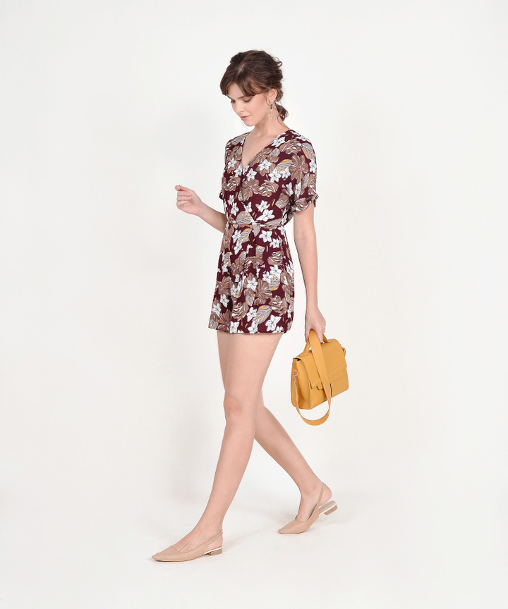 Cecily Floral Kimono Playsuit - Maroon