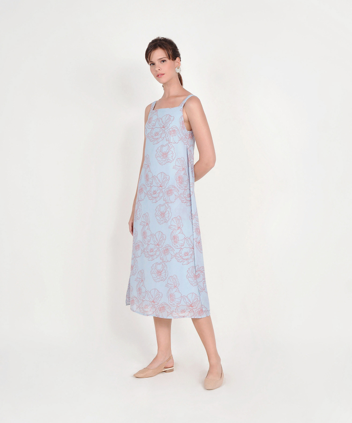 Nicolette Abstract Floral Maxi - Pale Blue