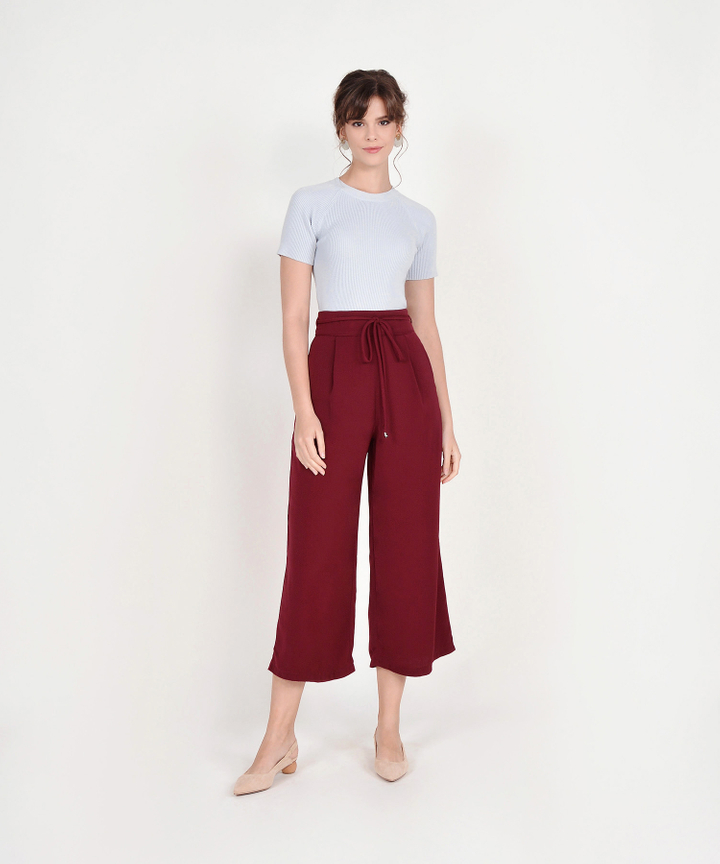 Sachi High Waist Trousers - Ruby