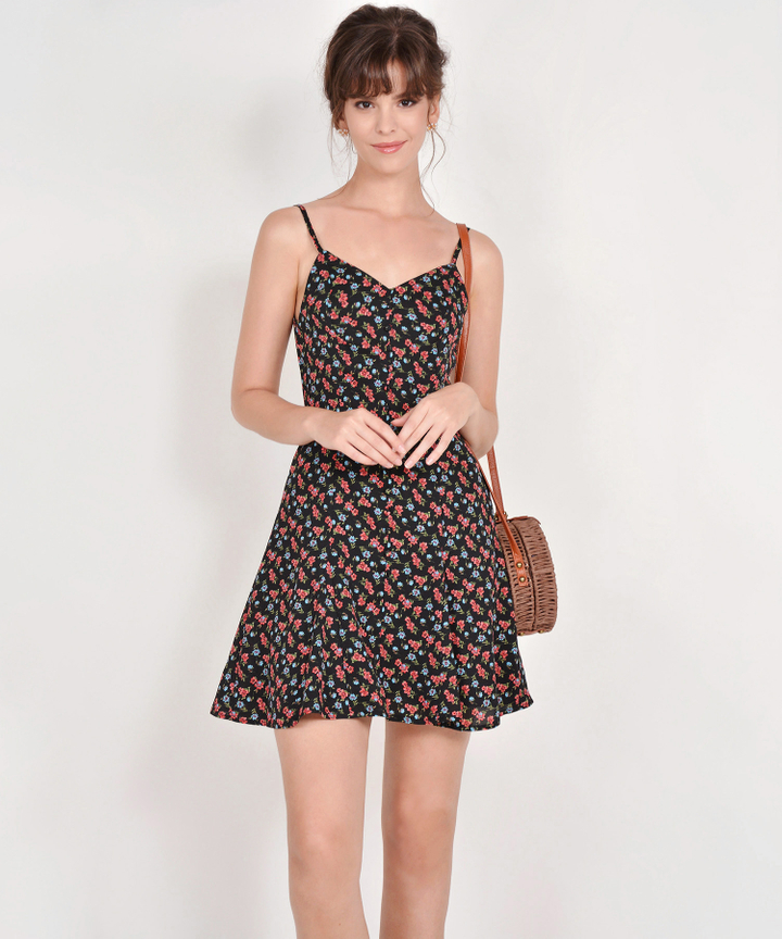 Bliss Floral Mini Dress - Black