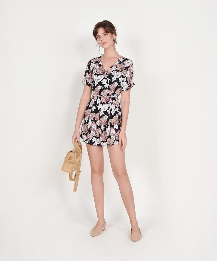 Cecily Floral Kimono Playsuit - Black