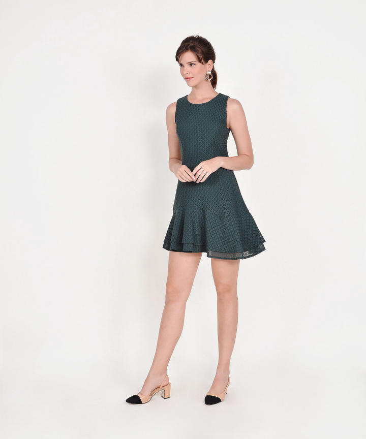 Claudine Eyelet Dress - Forest Green