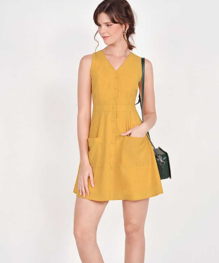 Elodie Button-Down Dress - Mustard