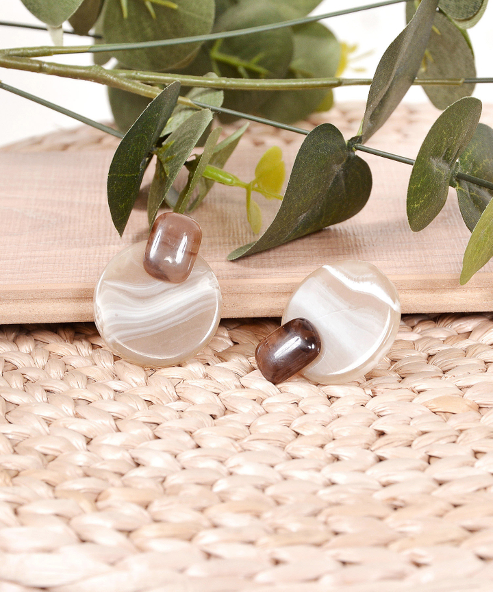 Caramel Circle Earrings - Brown